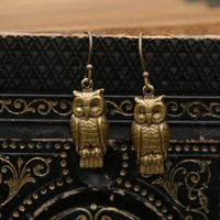 Brass Retro Owl Earrings - $13.50 RagTraderVintage.com