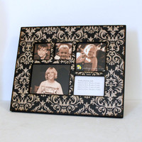 Collage Wood Photo Frame Black Tan Vintage Damask