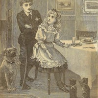 Talented Kittens Begging at the Table Original Bookplate 1893 Chatterbox Children's Book