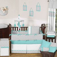 UNIQUE MODERN GRAY TURQUOISE AND WHITE CHEVRON BABY BOY OR GIRL CRIB BEDDING SET