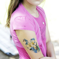 vintage blue and white floral temporary tattoo by pepperink