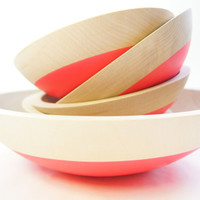 Wooden Salad Bowl Set of 5, Neon Pink, Summer Party, Picnic,Wedding Gift