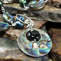 Pendant necklace, paua abalone, faceted pearls, rainbow obsidian