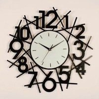 Abstract Matte Black Metal 18 Wide Wall Clock