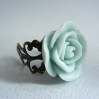 Adjustable Mint Green Resin Flower Ring by threestonebirds