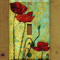 Poppies II Switchplate cover by TurnMeOnArt on Etsy