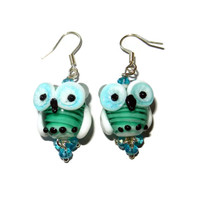 Teal and Blue Glass Lampwork Owl Dangle Earrings