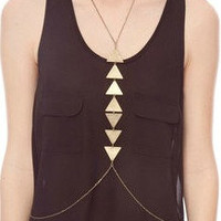 GEOMETRIC brass body chain necklace