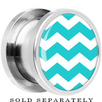 00 Gauge Steel Turquoise White Chevron Screw Fit Plug | Body Candy Body Jewelry