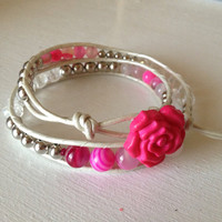 Hot Pink Leather Wrap
