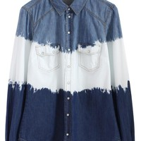 Dip Dyed Denim Long Sleeve Shirt with Button Up Front
