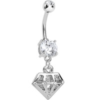 Crystalline Gem Diamond Shape Dangle Belly Ring | Body Candy Body Jewelry