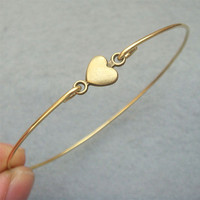 Heart Brass Bangle Bracelet Style 4 by turquoisecity on Etsy
