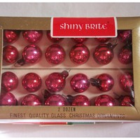 Shiny Brite Christmas Tree Ornaments Red Set of 24 Tiny Glass Ornam...... | SandyCreekCollectables - Home Decor on ArtFire