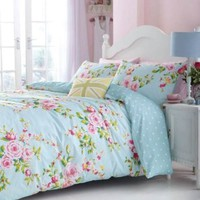SUPERB COTTON USA QUEEN (230 X 220CM - UK KING SIZE) PINK BLUE ROSE FLORAL REVERSIBLE SHABBY DUVET CHIC SET
