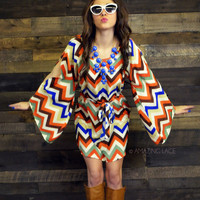 Kiss Me You Fool Chevron Bell Sleeve Dress