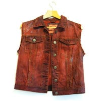 Red denim vest M / L