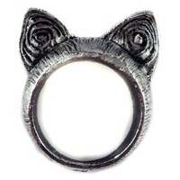 Amazon.com: Unique Retro Style Cute Cat Ears Ring - Color: Nickel - Size 7: Kitchen &amp; Dining