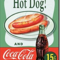 Hot Dog and Coca Cola Coke Combo 15 Cents Retro Vintage Tin Sign - 13x16 , 13x16:Amazon:Home & Kitchen