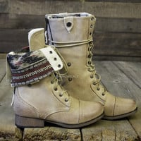 Southern Pines Beige Tribal Fold Over Combat Boots