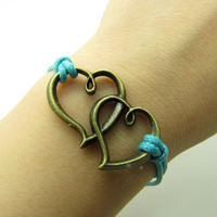 Vintage Style Bronze Hearts Pendant Blue Ropes by braceletcool