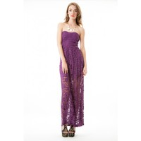 Strapless Lace Maxi-Plum - CLOTHING