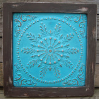 Custom Order:  Aqua Painted Shabby Chic Metal Wall Hanging, Framed Metal Tile, Cottage Chic Decor, Garden Decor, Gallery Wal