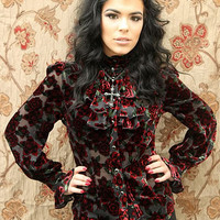 ANTOINETTE TOP - BLOOD ROSE VELVET PRINT by Shrine Clothing  Gothic Tops Blouses