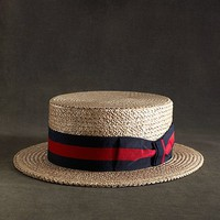 The Great Gatsby Collection Straw Boater Hat with Red and Navy Striped Ribbon - Brooks Brothers