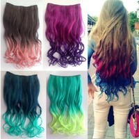 2013 New Two Tone One Piece Long Curl/curly/wavy Synthetic Thick Hair Extensions Clip-on Hairpieces 16 Colors