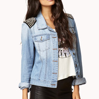 Spiked Shoulder Denim Jacket