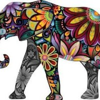 The Cheerful Elephant - Peel and Stick Wall Decal by Wallmonkeys