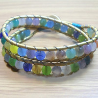 Beaded Wrap Bracelet, Leather Wrap Bracelet, Colorful Wrap Bracelet