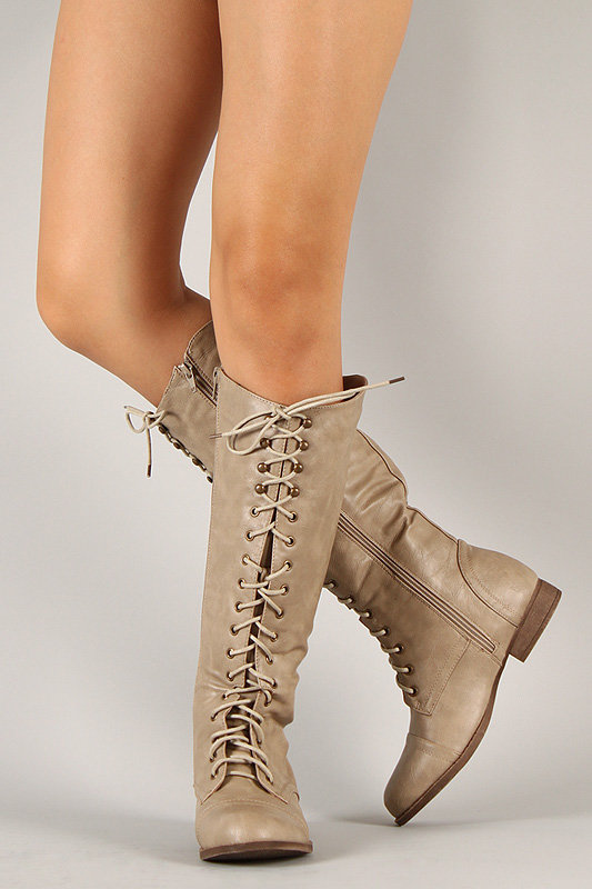 Libby-05 Lace Up Military Knee High Boot