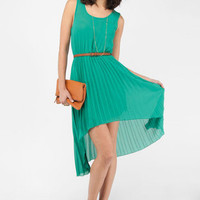 Pleat It Hi-Low Dress in Mustard :: tobi
