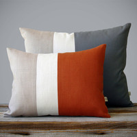Color Block Pillow Set - (12x16) Paprika and (16x20) Charcoal by JillianReneDecor - Fall Home Decor - Striped Trio - Autumn Spice