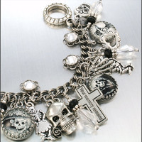 Charm Bracelet Silver Dia de los Muertos Day by BlackberryDesigns