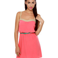 Cute Coral Dress - Belted Dress - Casual Dress - $40.00
