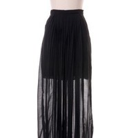 Front Pleated Maxi Skirt in Black by Chic+ - Retro, Indie and Unique Fashion