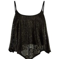 New Look Mobile | Black Foil Lace Crop Cami