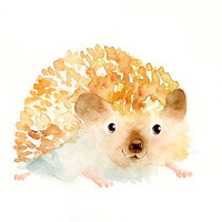 HEDGEHOG by DIMDI Original watercolor painting 10X8inch by dimdi