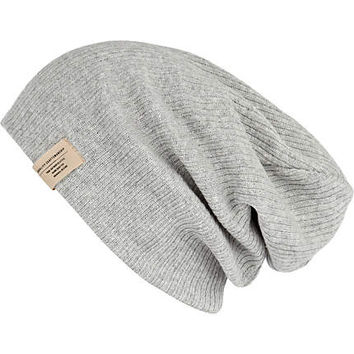 Grey knit beanie hat - hats - accessories - men