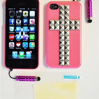 Hot Pink Stud Cross iPhone Cover