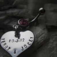 Personalized THE KEEPSAKE belly button ring Hand stamped Stainless Steel hearts for names, dates, words, phrases.