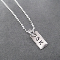 5K Rectangle Sterling Silver Running Necklace - Choose 16, 18 or 20 inch Sterling Silver Ball Chain - Unisex Running Necklace - Unisex 5k