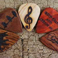 SALE: Buy 4 Get the 5th one FREE - Custom Wooden Guitar Picks - (Choose Wood Type and Design)