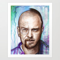 Walter White + Jesse Pinkman - Breaking Bad Art Print by Olechka