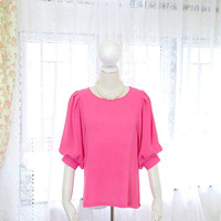 Romantic Vivid Hot Pink chiffon bubble bell sleeves blouse top