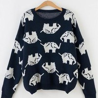 Full Elephant Print  Sweater Top for Women Blue TFD467