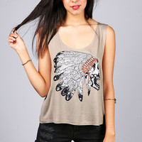 Skull Headdress Tank | Graphic Tops at Pink Ice